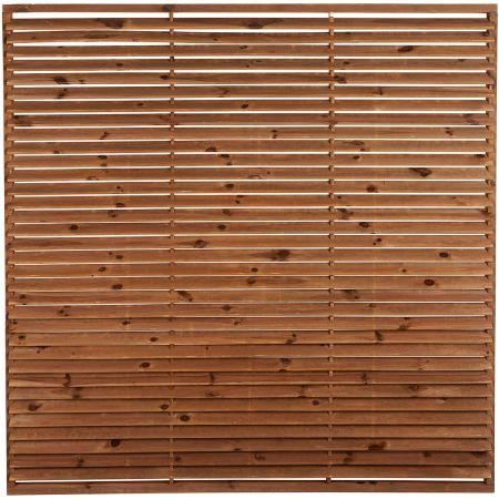 Panneau de clôture occultant premium en bois traité autoclave marron - épaisseur 7,5cm - 180x180cm- PERSIENNE