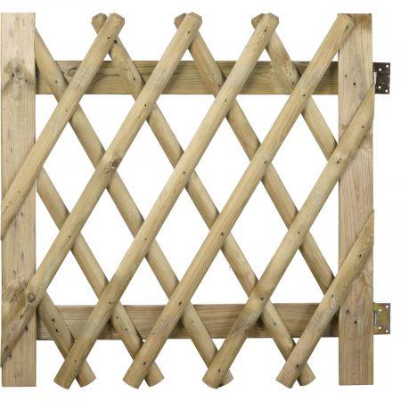 Portillon en bois traité autoclave classe III - 100 x100 cm avec Chanière et Loquet_PONY