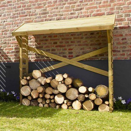 Bûcher en bois DENVER 1.2m3, toit avec pente - 180 x 69x H.180 cm