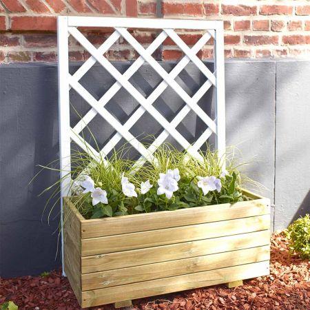 Bac à fleurs en bois avec treillis – Traité Autoclave 3 - (80 × 40 × H120 / 77L) - Louison