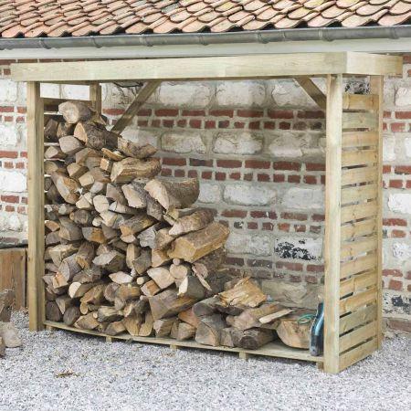 Bûcher en bois DALLAS 2,8m3, avec toiture plate et plancher
