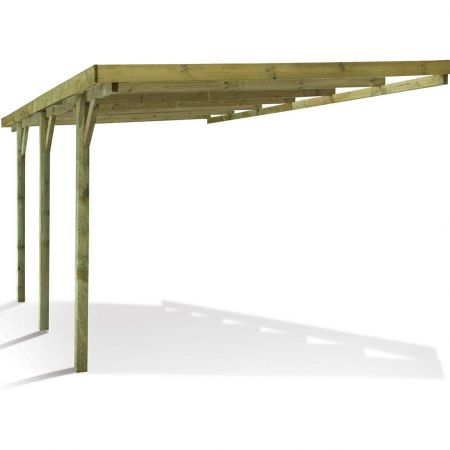 Carport bois traité adossé GUS, 1 voiture, sans couverture, 15,8m²