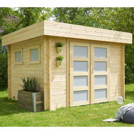 Abri de jardin KIVIK 7,99m², toiture plate, madriers épaisseur 28mm – 248 x 268 x H.220 cm