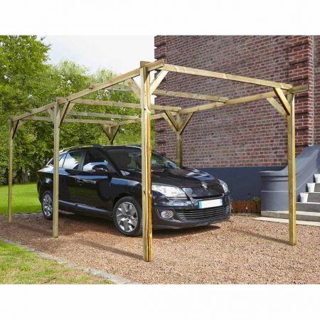 Carport bois traité PACO, 1 voiture, sans couverture - 15,4m²