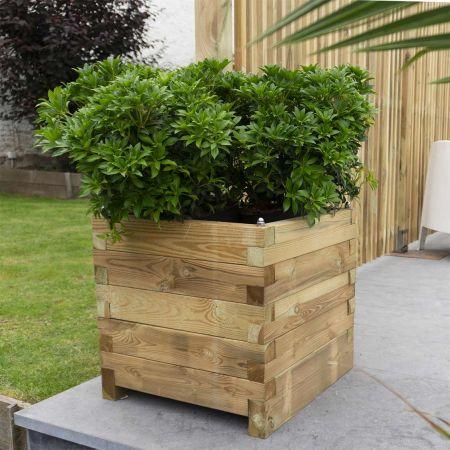 Bac à fleurs en bois traité autoclave 3 – (50 × 50 × H50 cm / 61L) -  Bromelia