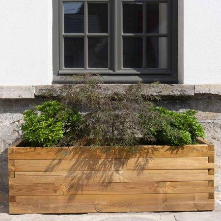 Grand bac à fleurs rectangulaire en bois traité – (180 × 50 × H50 cm / 256L) - Bromelia