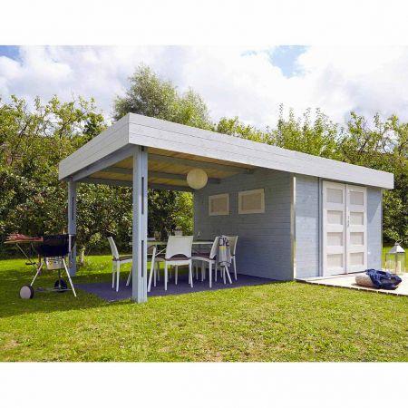 Abri de jardin bois LOUNJ 17.5m², auvent de toit, madriers 28mm