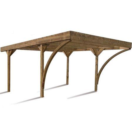 Carport bois traité double HAROLD, 2 voitures, couverture en polycarbonate - 30,9m²