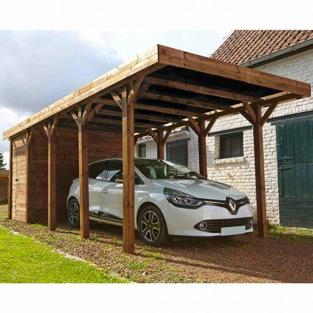 Carport bois traité HARRY, 1 voiture, couverture en polycarbonate - 20,3m²
