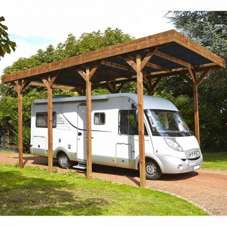 Carport bois traité CAMPING CAR, couverture en polycarbonate - 32,4m²