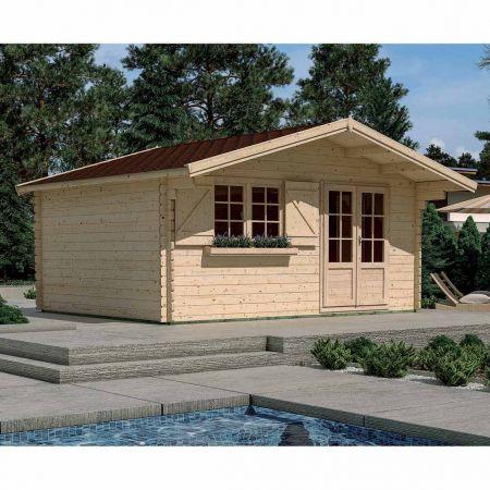 Abri de jardin bois LILAC 19,8m², plancher, madriers 44mm