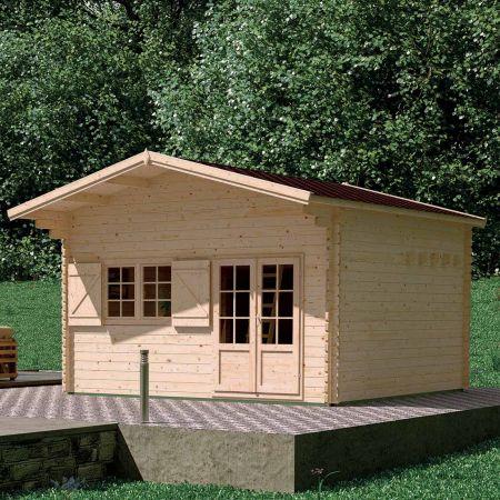 Abri de jardin JASMIN 21,81m², + mezzanine 8,68m², plancher, madriers épaisseur 44mm  – 467 x 467 x H.337 cm