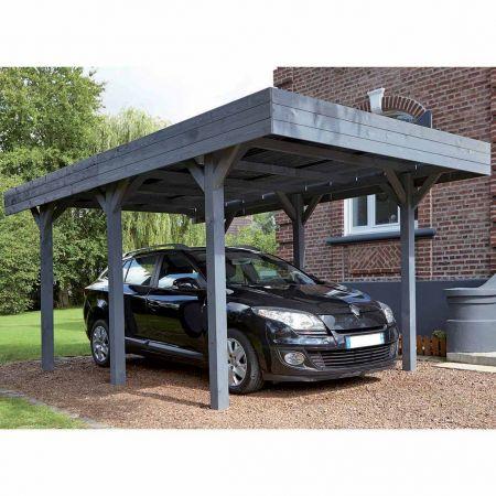 Carport bois lasuré LOUISON 1 voiture, couverture en polycarbonate - 15,8m²