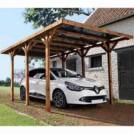 Carport bois traité ENZO, 1 voiture, couverture en polycarbonate - 15,7m²