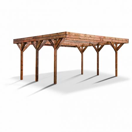 Carport bois traité double ENZO, 2 voitures, couverture en polycarbonate - 30,9m²