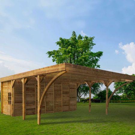 Carport bois traité double AYMAR avec remise, 2 voitures, couverture en polycarbonate -  42,1m²