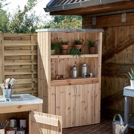 Armoire de jardin en bois LINEA, avec 4 étagères - 109 x 48 x H.182