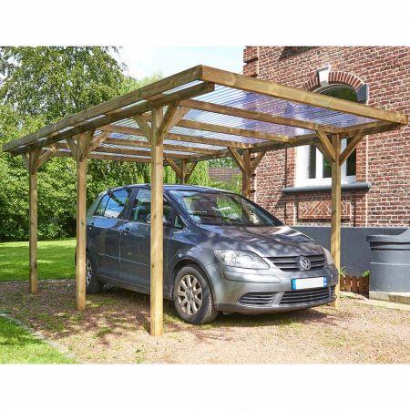 Carport bois traité MAX, 1 voiture, couverture en PVC - 15,7m²