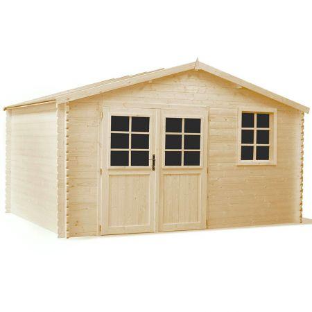 Abri de jardin bois MIRNY PLUS 11,9m², madriers 34mm