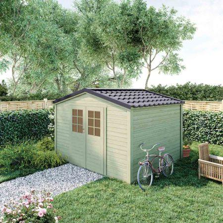 Abri de jardin bois SHELTY PLUS 9m², toiture en acier galvanisé, madriers 28mm