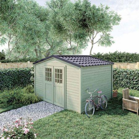 Abri de jardin PREMIUM SHELTY PLUS 9m², grande capacité de stockage, toiture en acier galvanisé  – 324 x 274 x H.240 cm