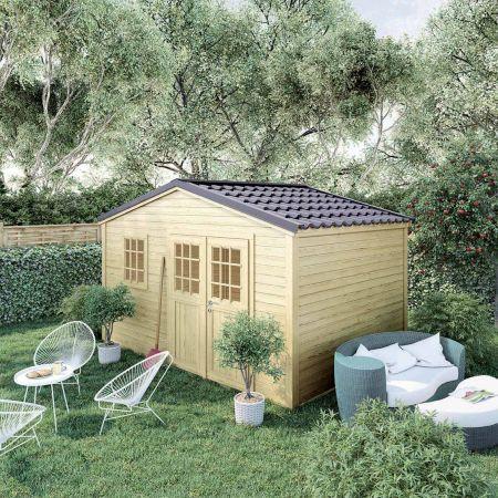 Abri de jardin bois SHELTY PLUS 11m², toiture en acier galvanisé, madriers 28mm