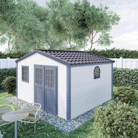 Abri de jardin PREMIUM SHELTY PLUS 14m², grande capacité de stockage, toiture en acier galvanisé  – 349x395xH.201cm