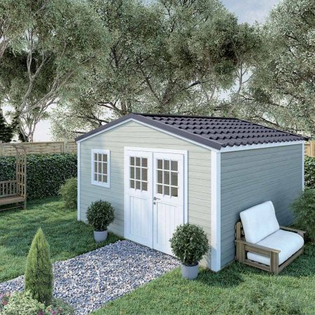 Abri de jardin bois SHELTY PLUS 16m², toiture en acier galvanisé, madriers 28mm
