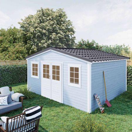 Abri de jardin bois SHELTY PLUS 18m², toiture en acier galvanisé, madriers 28mm