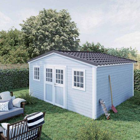 Abri de jardin PREMIUM SHELTY PLUS 18m², grande capacité de stockage, toiture en acier galvanisé  – 389x448xH.201cm