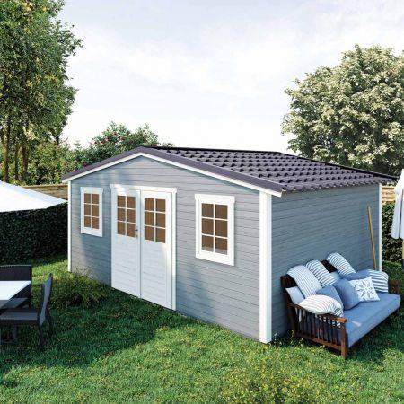 Abri de jardin bois SHELTY PLUS 20m², toiture en acier galvanisé, madriers 28mm