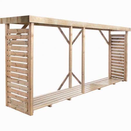 Bûcher en bois DALLAS XXL 3,8m3, avec toiture plate et plancher