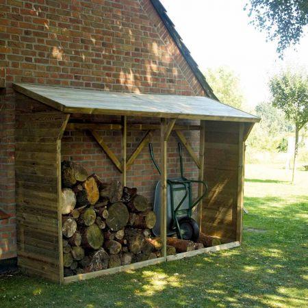 Bûcher en bois MEMPHIS XL 4m3, toit avec pente