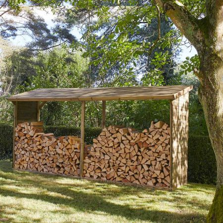 Bûcher en bois MEMPHIS XXL 5,7m3, toit avec pente – 410 x 114 x H.203 cm