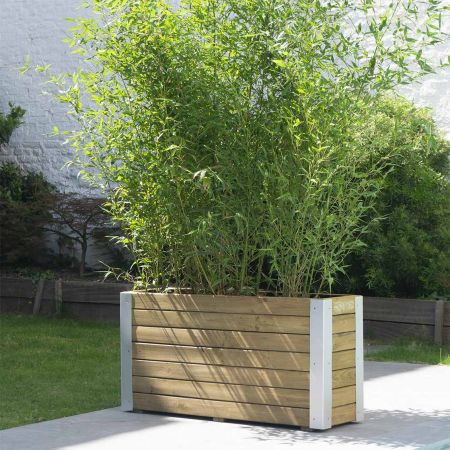 Bac à fleurs pour plantes montantes – (80 × 30 × H43,5 cm / 72 L) - Bambou