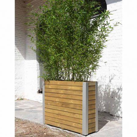 Bac pour fleurs en bois éco-responsable – (100 × 30 × H78,5 cm / 170 L) - Bambou