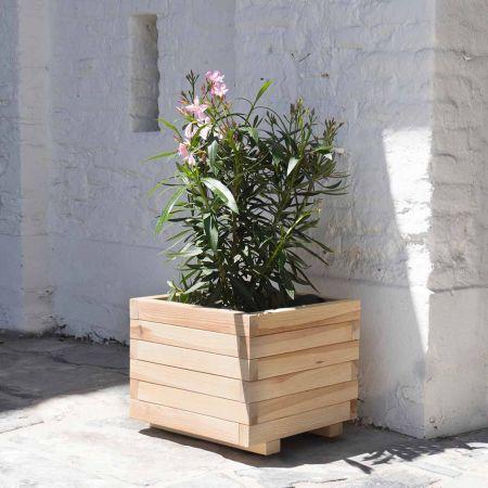 Bac à fleurs carré en bois séché – (50 × 50 × H38 cm / 64 L) - Bardane