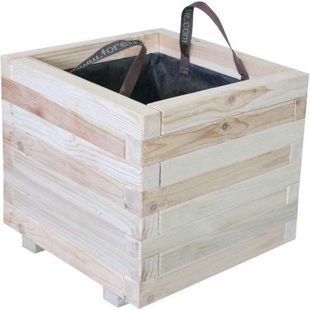 Bac à fleurs carré en bois brut – (60 × 60 × H43 cm / 111 L) - Bardane