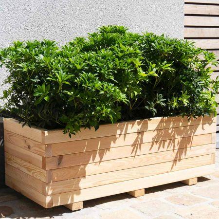 Bac à fleurs rectangulaire en bois séché – (90 × 40 × H33 cm / 80 L) - Bardane