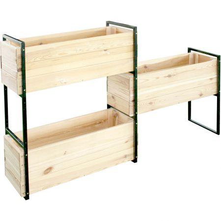 Bacs à fleurs en bois séché :modulables – 3 bacs + 1 armature – (144 × 35.5 × H102.5 / 156L) - Blakea