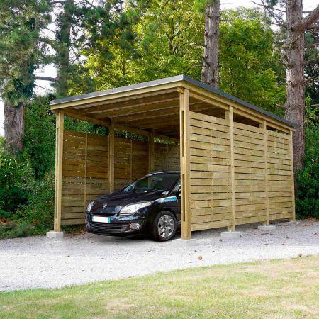 Carport bois traité PREMIUM avec panneaux latéraux, 1 voiture, couverture en acier, 19,6m²