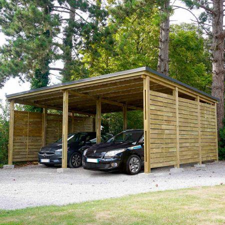 Carport bois traité PREMIUM avec panneaux latéraux, 2 voitures, couverture en acier, 38,0m²