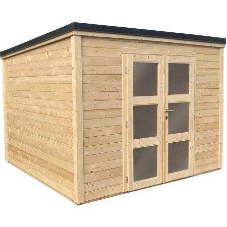 Abri de jardin bois SHELTY PLUS MODERN 9m², toiture en acier galvanisé, madriers 28mm