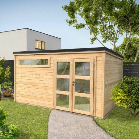 Abri de jardin PREMIUM SHELTY PLUS MODERN 11m², toiture plate en acier galvanisé  – 395 x 280 x H.209 cm
