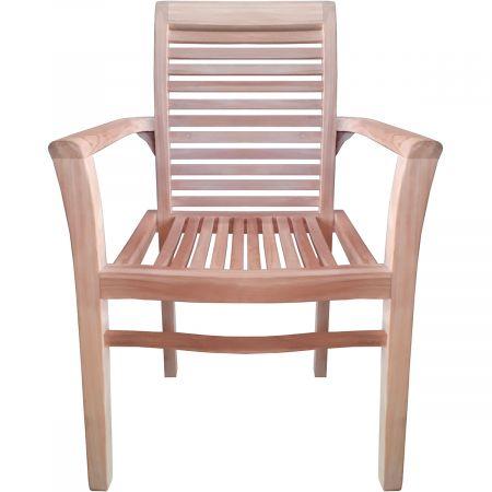 Lot de 3 fauteuils avec accoudoirs empilables en teck