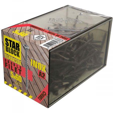 Boîte de 200 vis 5x60mm  tête réduite et double filet  pour terrasse