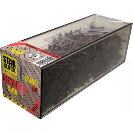 Boîte de 500 vis 5x60mm  tête réduite et double filet pour terrasse