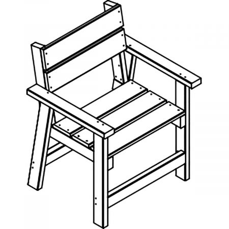 Lot 2 fauteuils bois recycle