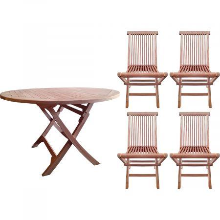 Salon de jardin en teck : table ronde et 4 chaises pliables