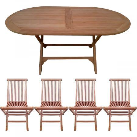 Salon de jardin en teck : table ovale et 4 chaises pliables